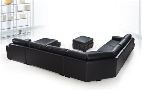 black leather sectional with ottoman black leather modern u shape sectional sofa w ottoman