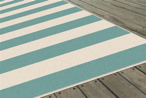 aqua striped rug garden city aqua transitional casual rows outdoor striped gct1003 area rug ebay