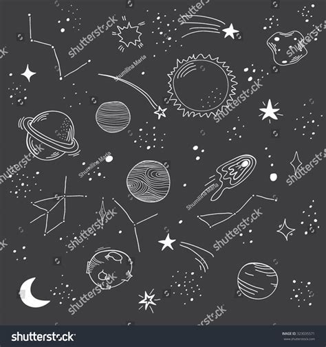 space and pattern in art hand drawn space doodle pattern planet stock vector