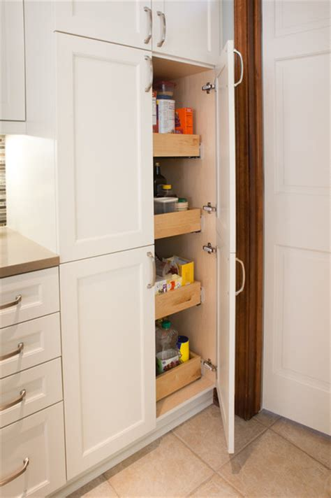 Kitchen Cabinet Roll Out Trays by Cabinet Pantry 4 Roll Out Trays Transitional Kitchen