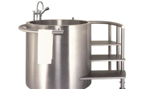 Small Contemporary Bathroom Ideas japanese soaking tub in stainless steel