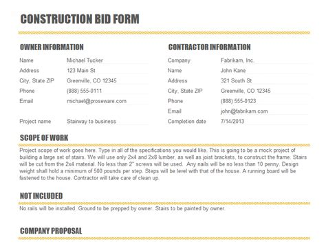 construction bid form templates construction
