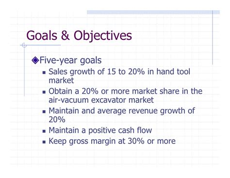 sle of goals and objectives sle business plan presentation