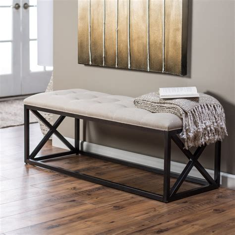 small white indoor bench furniture metal indoor bench seat using white tufted
