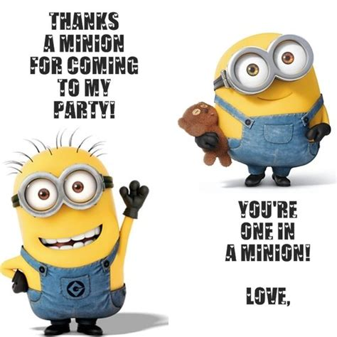 printable minion thank you cards pinterest the world s catalog of ideas