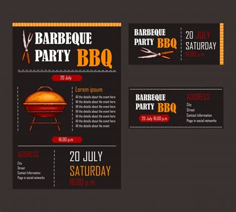 Set Of Vector Illustrations Of A Bbq Menu Template Invitation Card On A Barbecue Gift Barbecue Menu Template