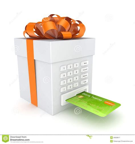 Credit Card Gift Box - credit card inserted in a gift box royalty free stock photography image 26928617