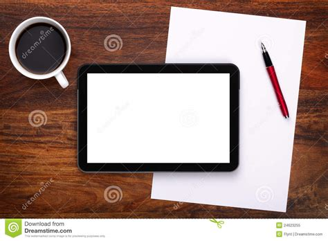 on desk blank digital tablet on desk stock image image 24623255