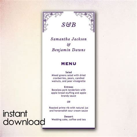 17 best images about instant 17 best images about diy wedding menu templates instant
