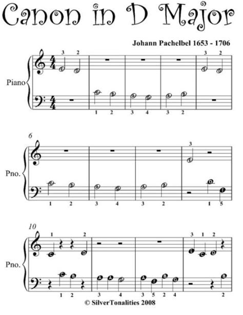 001410976x fantasie b op p piano canon in d beginner piano sheet music by johann pachelbel