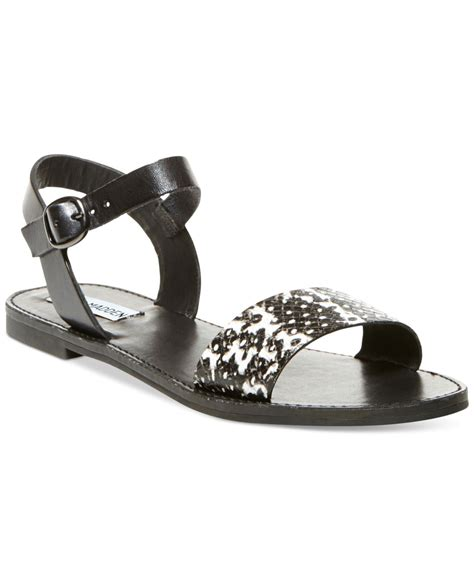 Steve Madden Donddi Flat Sandals by Lyst Steve Madden Donddi Flat Sandals In Black