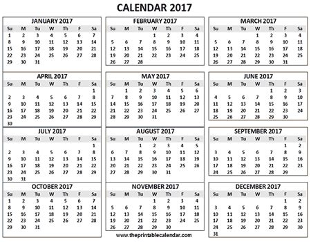 One Page Calendar 2017 Printable 12 Month Calendar On One Page Printable