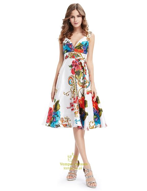 Mergory Flowery Flare Mini Dress floral print v neck summer fit and flare skater dress