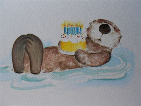 birthday card template with otter sea otter happy birthday greeting card