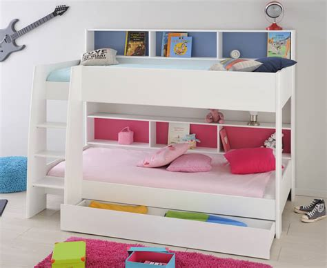 bed with shelves parisot tam tam white bunk bed free bunky light