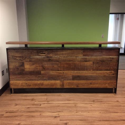 steel reception desk reclaimed wood steel reception desk