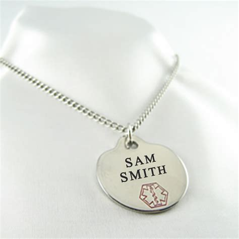 engraved free steel alert id tag necklace