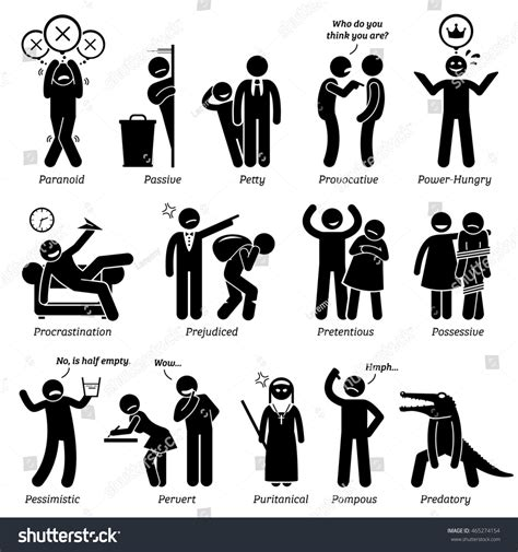 Negative Personalities Character Traits Stick Figures Stock Illustration 465274154