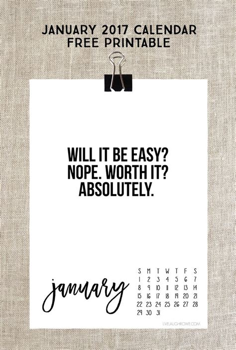printable calendar quotes january 2017 calendar free printable live laugh rowe