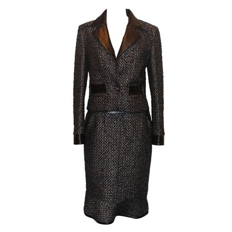 Pocket Set Topskirt Blackbrownred Size L chanel black and metallic tweed and leather skirt suit size 40 circa 02a for sale at 1stdibs