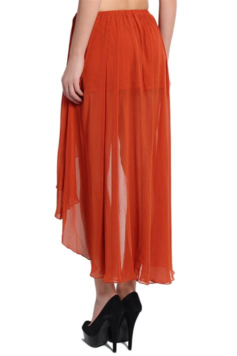 themogan hi low maxi skirt drape chiffon wrap ebay