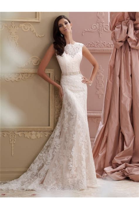 High Wedding Dresses by Mermaid High Neck V Back Lace Glitter Wedding