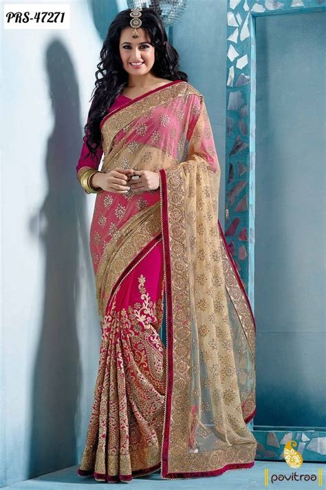 cream net designer wedding wear saree 2016 online