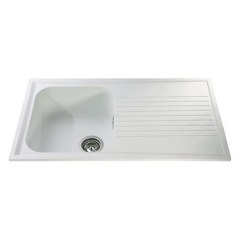 Asterite Kitchen Sink by Cda As1wh Inset Asterite Single Bowl Sink