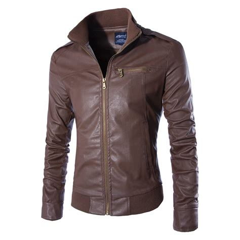 Faux Leather Stand Collar Jacket s stand collar faux leather zipper motorcycle jacket