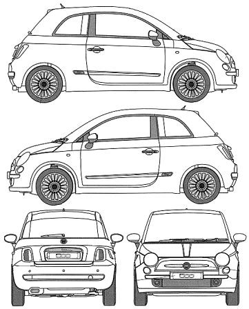 500 Sketches Pdf by Car Blueprints Fiat 500 Blueprints Vector Drawings