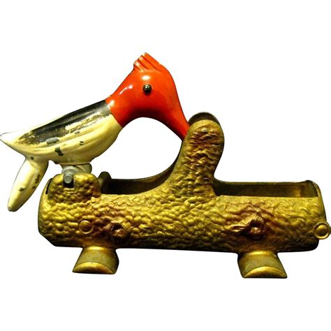 bird toothpick dispenser 1940 s woodpecker metal toothpick holder toni ink ruby