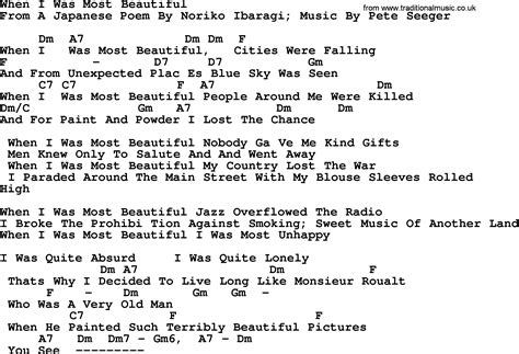 most beautiful in the room lyrics pete seeger song when i was most beautiful lyrics and chords