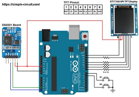 arduino clock  ds  st color display