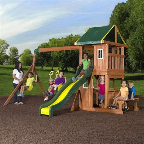 backyard discovery oakmont cedar wooden swing set playground equipment commercial playground equipment on