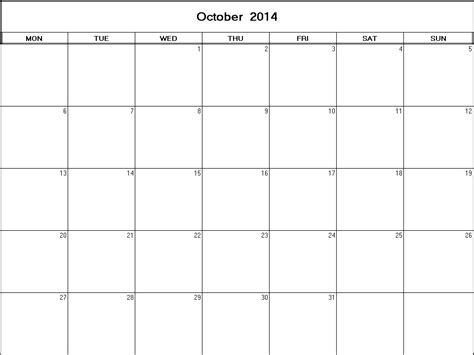 2014 October Calendar Blank October 2014 Calendar Calendar Template 2016