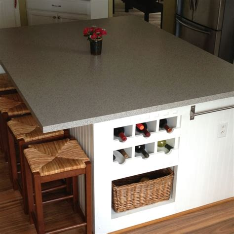 kitchen island made around four base cabinets on