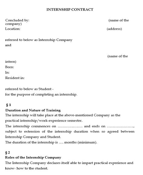 Agreement Letter For Internship Internship Agreement Template Free Microsoft Word Templates