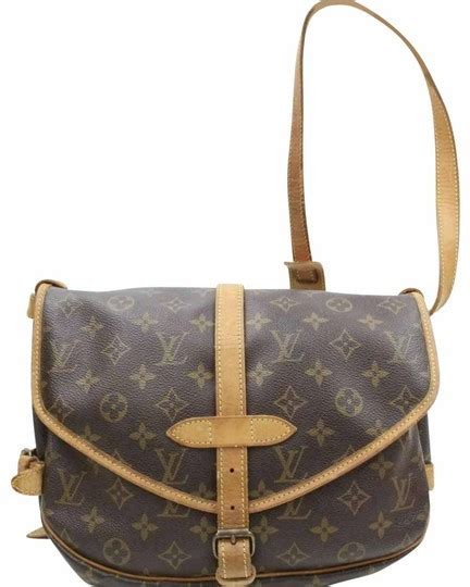 louis vuitton saumur  brown monogram leather messenger