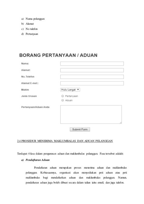 format buku rekod aduan pelanggan modul customer liason and event arrangement