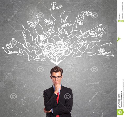 thinking from a to man thinking at too many things stock photo image 30235428