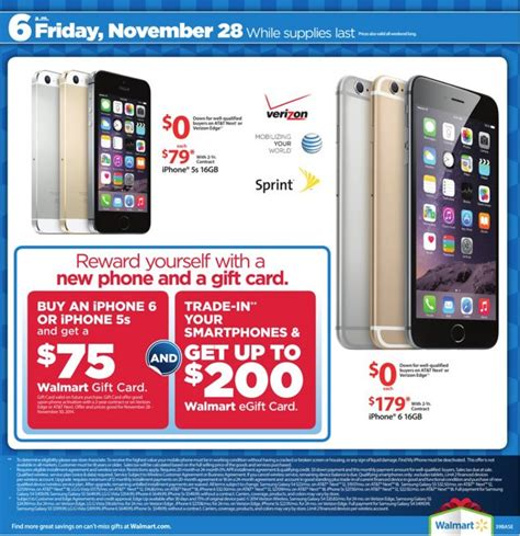iphone deals black friday walmart s black friday deals bundle 30 gift card with 200 mini 75 gift card with 179