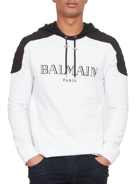 Hoodie Sweater Plagiat Front Logo lyst balmain quilted shoulder logo hoodie in white for