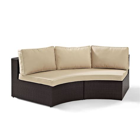 rounded sectional sofa catalina outdoor wicker round sectional sofa with sand