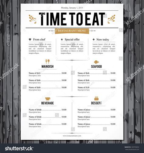 House Design Download Free by Restaurant Menu Design Stock Vector 183705032 Shutterstock