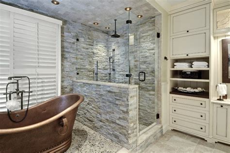 river stone bathroom dishy river stone tile interesting ideas with glass wall