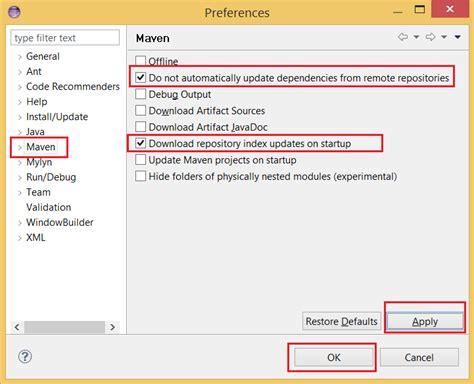 eclipse maven maven tutorialspoint java maven jar artifiact dependency search not working in