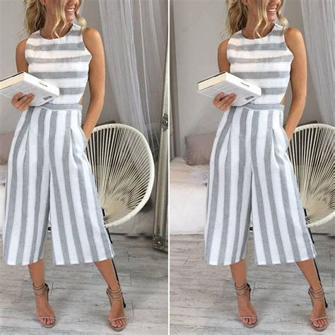 Sleeveless Striped Jumpsuit casual sleeveless striped cotton linen backless wide