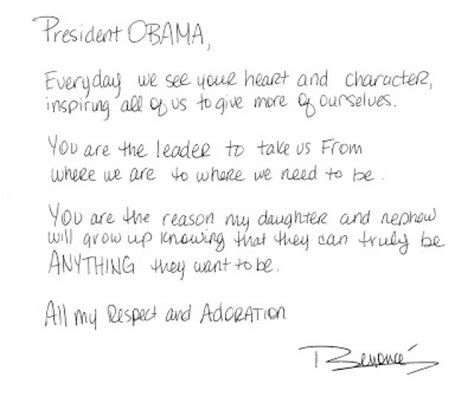 Support Letter For Sick Friend Missinfo Tv 187 Beyonce Pens Encouraging Letter To President Obama Ivoted