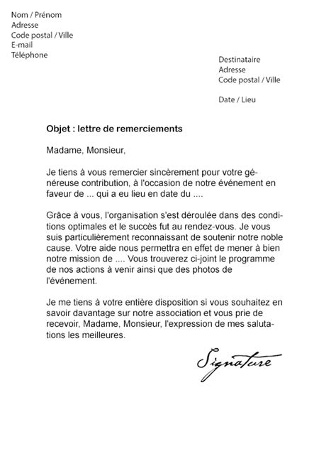 Modèles De Lettres De Sponsoring Lettre De Remerciement Sponsor Mod 232 Le De Lettre