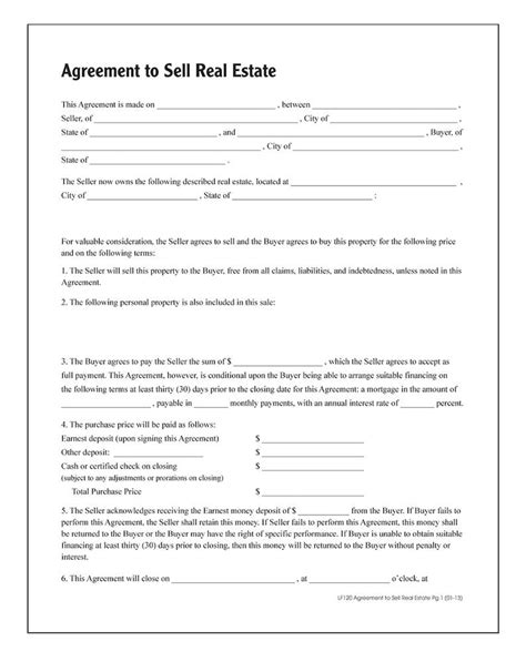 Sle Letter Of Agreement To Sell Property Agreement To Sell Real Estate Forms And